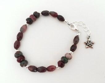 Stone bead bracelet. Pink bracelet, watermelon jade gemstone. Sundance style, beaded bracelet, flower charm. Bracelet with charm, silver