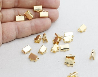 10 Pcs 9mm Gold Plated Ribbon Crimp , Cord End, Fastaners Clasp, srsag , BRT511