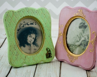 Shabby chic picture frame set 4x6 Picture frames Green photo frame Set Pink picture frame Wooden picture frame Mint frame Antique frame foto