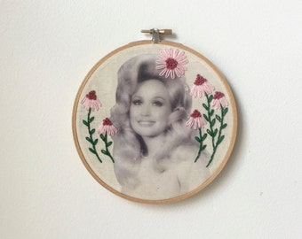 Embroidered Dolly Parton Hoop Pink Daisies