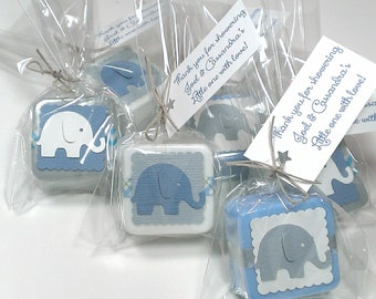 24 Baby shower favors, elephant theme baby shower decor baby shower favors boy, choose your own color theme