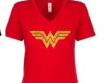Ladies Wonder Woman Glitter Costume Next Level V Neck Shirt Top