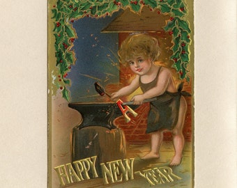 Vintage New Year Postcard Cute Baby Blacksmith Wearing Only an Apron Near Fire Using Hammer with Anvil Holly Embossed Used - 5816Pc
