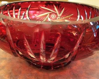 Hand Cut Ruby Lead Crystal Bowl