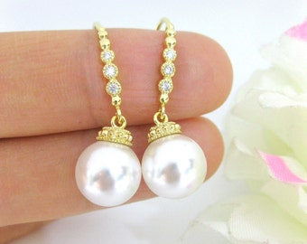 Bridal Pearl Earrings Wedding Pearl Earrings Swarovski 10mm Pearl Gold Earrings Wedding Jewelry Bridesmaid Gift Dangle Drop Earrings (E132)
