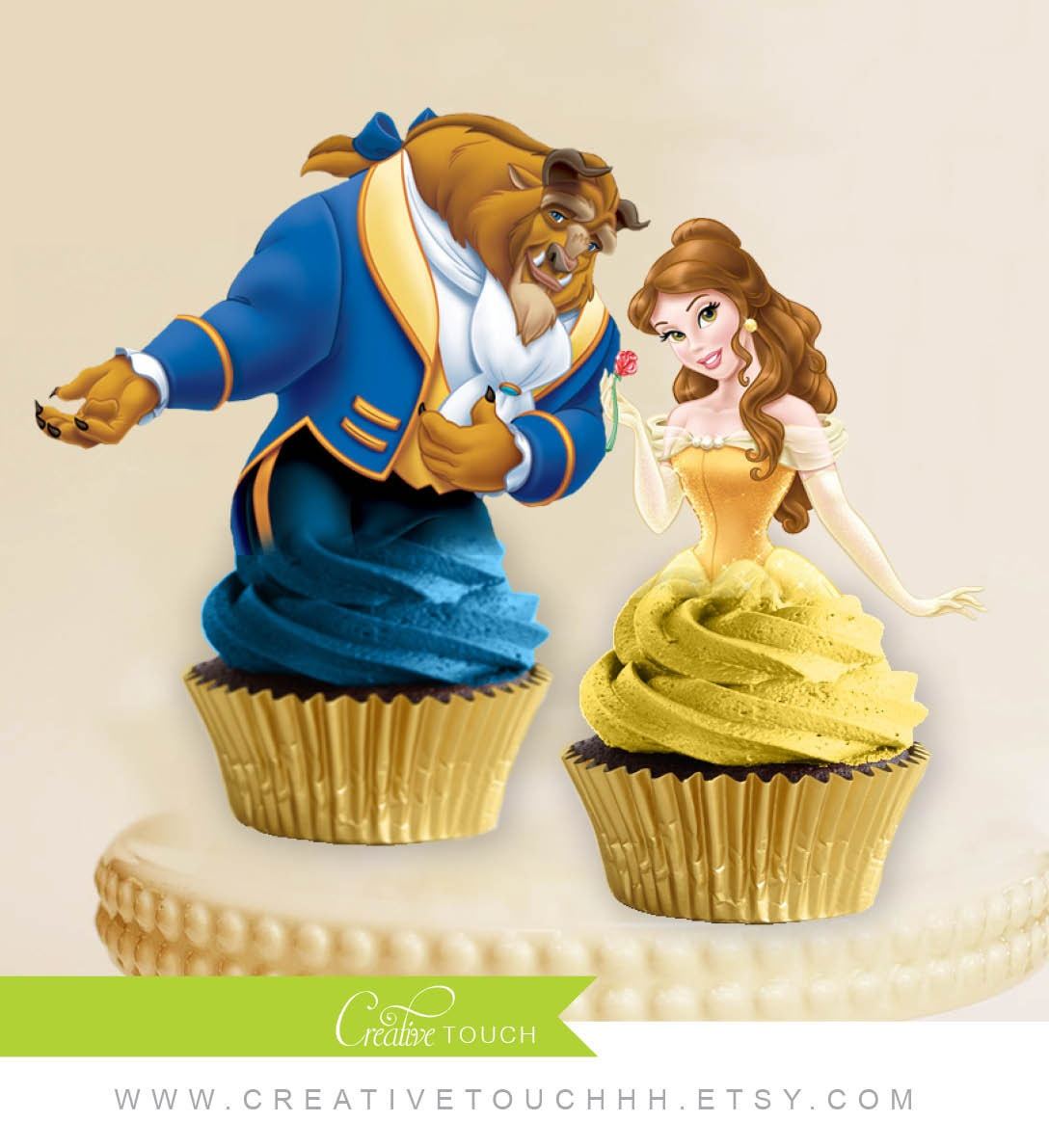 belle cupcake toppers princess belle beauty and the beast. Black Bedroom Furniture Sets. Home Design Ideas