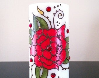Candle Gift, Decorative Candle, Rose Decor, Rose Gift, Hand Painted Candle Decor, Rose Candle, Decorated Candle, Beautiful Candle Art