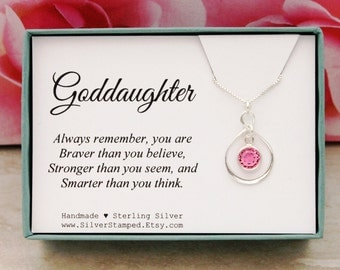 Easter gift for goddaughter gift necklace sterling silver gift for goddaughter birthstone necklace sterling silver infinity necklace birthday gift christmas gifts you are braver negle