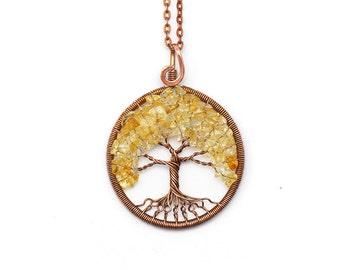 Citrine necklace Citrine pendant Wire Tree-Of-Life pendant Tree-Of-Life Jewelry Family Tree Copper Wire Wrapped Pendant November Birthstone