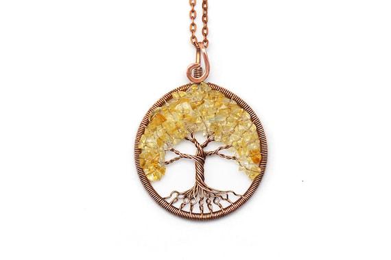 Citrine necklace Citrine pendant Wire Tree-Of-Life pendant