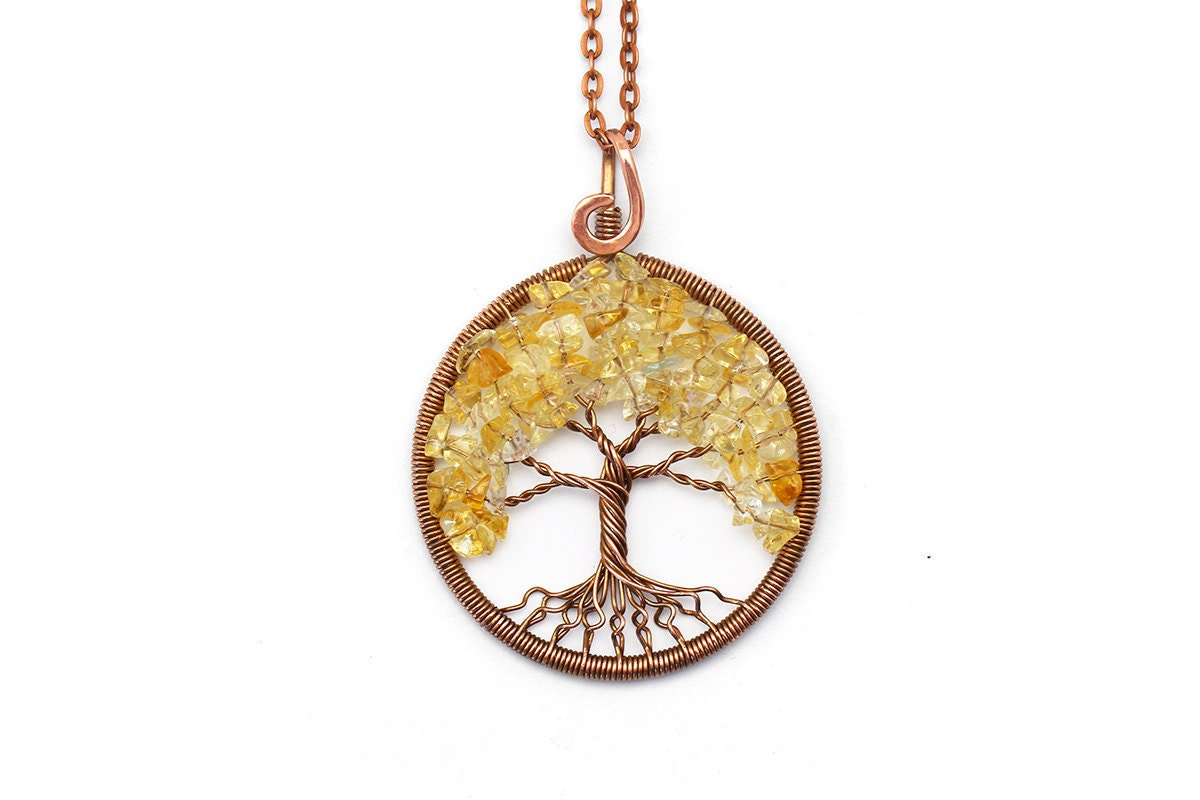 Citrine necklace citrine pendant wire tree of life pendant for What is the meaning of the tree of life jewelry