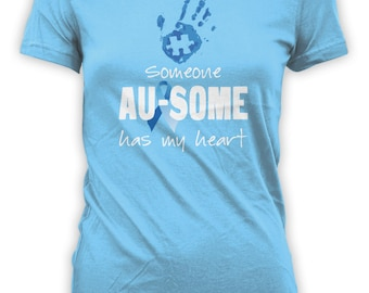 Someone Au-Some Has My Heart - Autism Aware Shirt Puzzle Piece Hand Print Shirt . Mens Womens Youth Sizes. Tops and Tees. CT-018