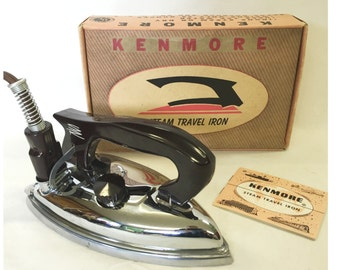 Vintage Kenmore Folding Steam Travel Iron, Two Irons In One, A Practical Steam Iron, A Versatile Dry Iron, Model No 6256, Original Box.