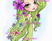 Digital Stamps, Digi stamp, Coloring pages, Girl stamp, Flower girl, Child stamp, Flowers. The Garden Dwellers Collection. The Flower Girl
