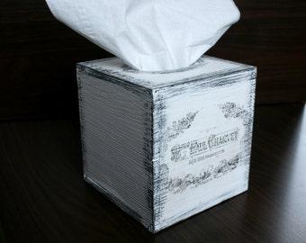 "Vintage TISSUE BOX 5"" x 5"" x 5"", Tissue COVER, Tissue Holder, Kleenex box cover, Kleenex box, Kleenex Holder, Tissue Cover, Tissue Holder"