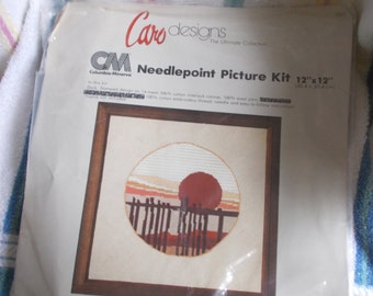 Vintage Columbia Minerva Needlepoint Picture Kit Southwest Sunset 1980
