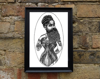Tattooed Bearded Lady - A4 Illustrated Print