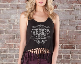 Fringe Top, Whiskey Shirt, Western Tee, Cowgirl shirt, Fringe Crop Top, Black Tank