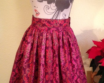 Sparkly Damask Party Skirt in Red, Purple and Pink.  Retro Full, Gathered Skirt, Fully Lined. Size Medium