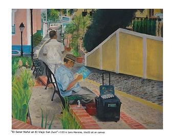 """Puerto Rican Art Poster - """"El Senor Natal en el Viejo San Juan"""""""