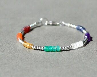 7 Chakra Bracelet with Gemstones, Rainbow Gemstone Bracelet, Dainty Bracelet, Delicate Stacking Bracelet, Yoga Jewelry, Chakra Bracelet