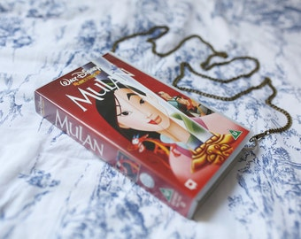 Disney's Mulan shoulder bag, upcycled VHS video case handbag, clutch, retro