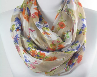 CREATED 82 pcs Floral Scarf Shawl Infinity Scarf Mothers Day Gift for Mom Loop Scarf Spring Summer Fall Winter Christmas Gift for Her Wife