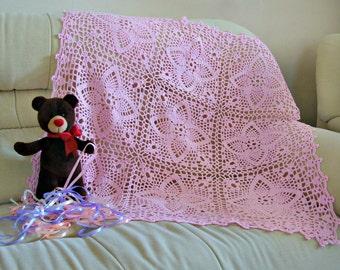 Hand crochet baby blanket New baby girl shower gift lace baby wrap baby girl Photo prop pink nursery decor Newborn photo christening gift