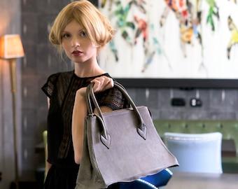 Gray Leather Bag, Gray Bag, Gray Leather, Leather Bag, Gray Handbag, Handbag Leather, Leather Handbag, Top Handle Bag, Genuine Leather