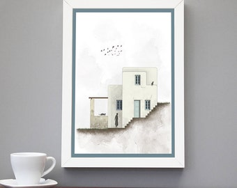 House Portrait Architecture Poster Made In Greece Island Art Home Decor Prints