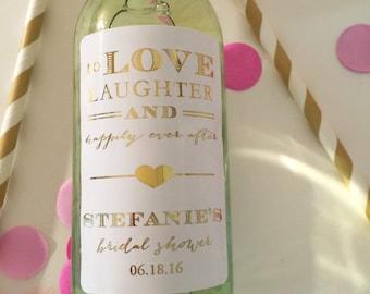 Mini Wine Bottle Labels Bridal Shower//Gold Foil//Pink Foil// Favor