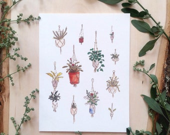 'Hanging plants' greeting card
