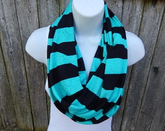 Black and Teal Bold  Striped Infinity Scarf