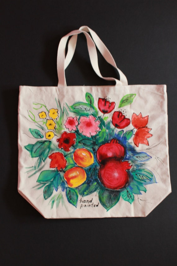 Hand painted bag,White cotton canvas bag,with pockets,Batik,Flowers,Fruits,Pomegranates,Poppies,Gift for mother,Armenian art,Armenian gift