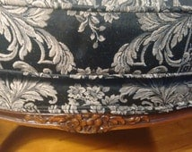 French Provincial Chair  French Country Chair  Bergere Chair   Ethan Allen    Vintage Brocade fabric   Elegant seating  Cottage