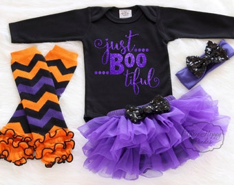 "Baby Halloween Costume Outfit, ""Just Boo Tiful"" Baby Halloween Tutu, Baby Halloween Leggings, Baby Halloween Clothes, Halloween Shirt HH2"