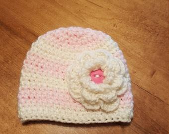 Newborn Baby Hat, Baby Girl Hat, Crochet Newborn Hat, Flower Hat, Newborn Photo Prop, Crochet Baby Hat, Baby Girl Beanie, Infant Baby Hat