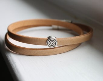Natural Leather Wrap Bracelet - Boho Leather Wrap Bracelet - Cuff Bracelet