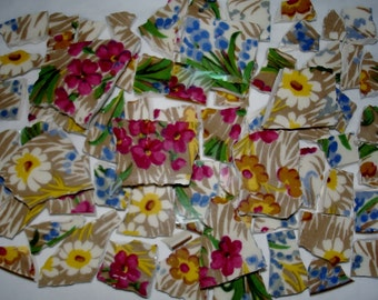Mosaic Tiles Pieces  - Supplies - Vintage Pieces  - Chintz Flower Mosaic Tiles Pieces - Broken China Plate -Tessera Pieces