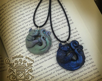 Choose Color- Green or Black Tentacle Cat Sculpted Relief Style Labradorite Pendant, Polymer Clay Animal Jewelry Gothic Creepy Cute Cthulhu
