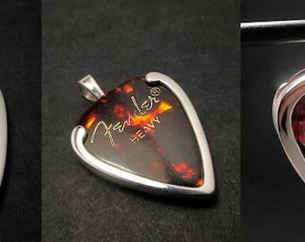 Guitar pick holder pendant -Cross - sterling silver