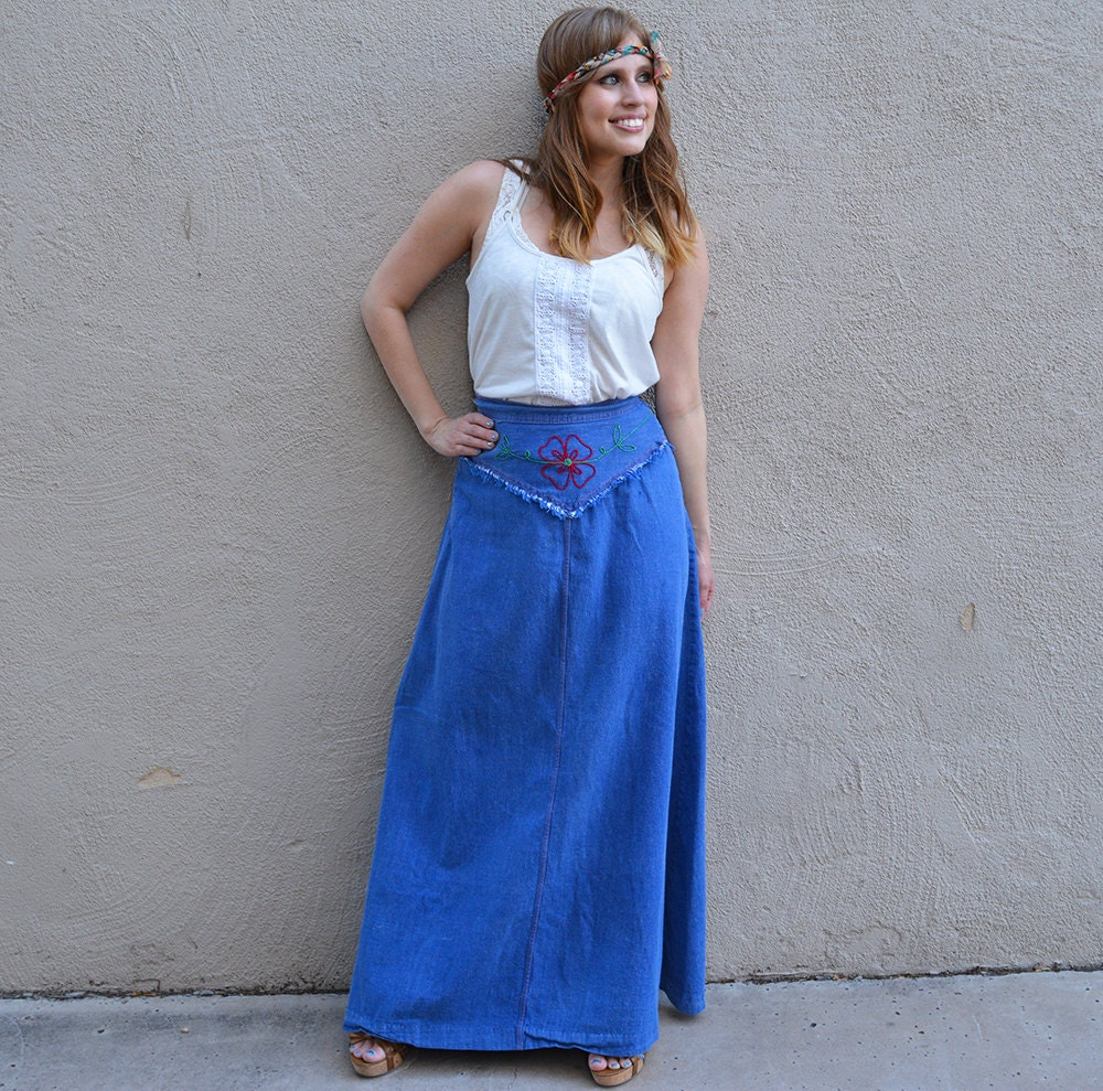 70s denim skirt jc retro hippie skirt boho skirt jean