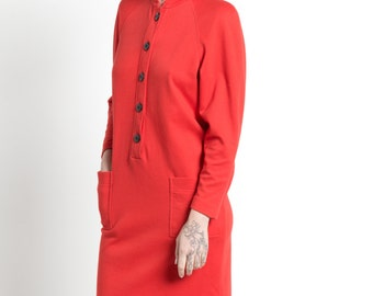 SALE Vintage 80s Bright Red Mod Long Sleeve Shift Dress | M