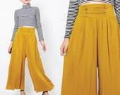 90s Wide Leg Pants Comfy Mustard Yellow Pants High Waist Pants Military Stretchy Knit Fall Winter Gold Trousers Cropped Ankle Length (S/M)