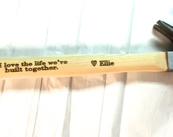 Engraved Personalized HAMMER, I love the life we've built together,  Gift for Dad, Father of the Bride, Custom hammer, Fathers Day gift