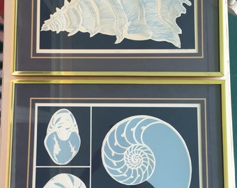NAUTILUS and CONCH SHELL Art Vintage Embossed Serigraph 1980 by David Allgood Navy Blue and White, 2 Serigraphs, Beach Decor at Modern Logic