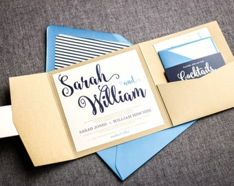 """Navy Blue and Gold Wedding Invitations, Nautical Beach Wedding Invitation Set, Pocketfold Invitation Suite - """"Calligraphy Chic"""" PF-NL-v2"""