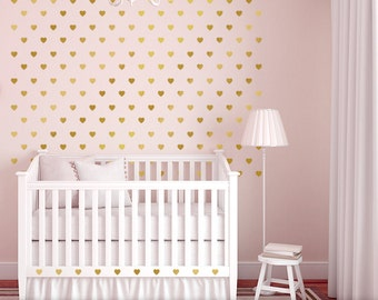Nursery Decor Hearts Wall Pattern Decals, Nursery Heart Decor, Metallic Gold 2in Peel and Stick Heart Wall Decal Stickers, Wall Confetti -r2