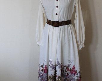 Grape Print Shirt Dress // 1970s // Size Small