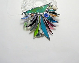 Abstract, Stained Glass, Suncatcher, Beach Decor, Ocean Jelly Fish, Art & Collectibles, Glass Art, Seashells, Handmade Decorative Gift Idea